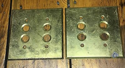 Lot Of Two Solid Brass Push Button Switch Wall Plates Two Gang Perkins Style