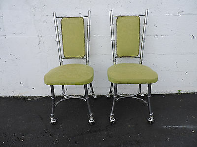 Pair of Vintage Mid-Century Hollywood Regency Chrome Metaline Dining Chairs 7086