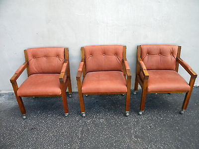 Set of Three Vintage Mid-Century Modern Oak Side by Side Chairs 5455