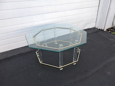 Mid-Century Modern Octagonal Glass-Top Lucite & Brass Coffee Table 6863