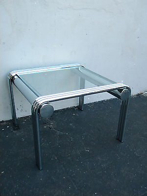 Mid-Century Modern Chrome Glass-Top Side Table / End Table 3125