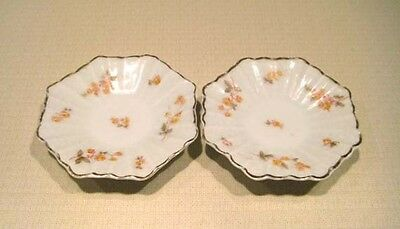 2 Antique Vintage Bavarian China Germany 8 -Sided Butter Pats Yellow Roses