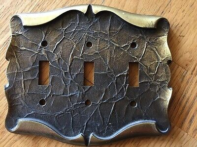 Amerock CARRIAGE HOUSE Triple SWITCH PLATE Antique Brass no  screws Vintage Used