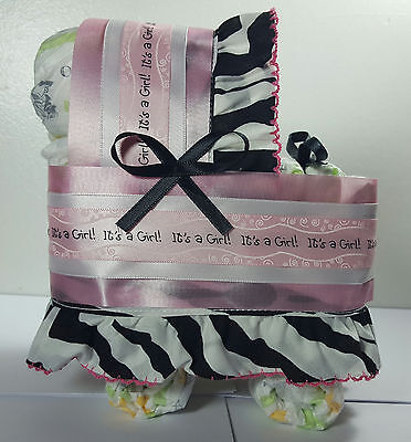 Diaper Cake Bassinet Carriage Baby Shower Gift - Pink, It's a Girl Zebra stripes