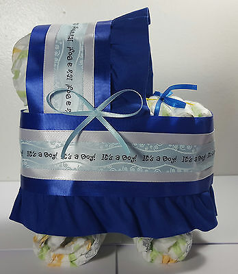 Diaper Cake Bassinet Carriage Baby Shower Gift - Royal Blue, It's a Boy