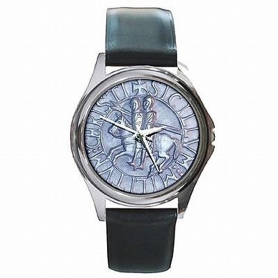 Templar Knights Holy Cross Medieval Seal Leather Watch New!