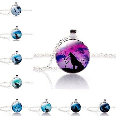 Howling Wolf & Moon Werewolf Silver Necklace Chain Pendant in Gift Bag/Box!