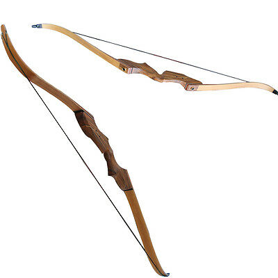 "60"" Take Down Bow Right Hand Wooden Outdoor Hunting Bow Recurve Longbow Target"