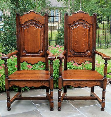 Antique French Country Oak PAIR High Back Dining Arm Chairs Farmhouse Large