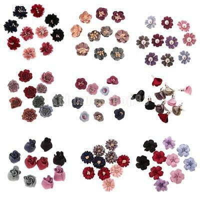 10pcs Sewing Fabric Flower Embellishments Dress Applique Hair Bow Decoration DIY