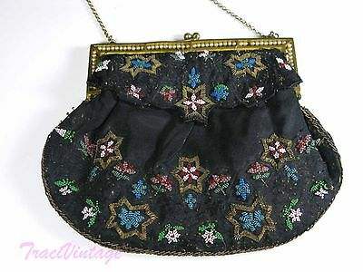 ANTIQUE Victorian Micro BEADED Black GOLD Evening Bag Purse PEARL FRAME Vintage