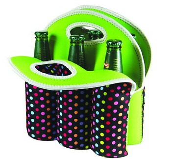 New Avanti 6 Pack Bottle Tote Confetti Insulated Neoprene Fabric Shockproof Bag