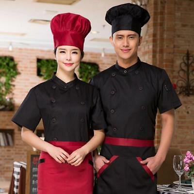 Chef Jacket Coat Short Sleeve Restaurant Cook Uniform Work Wear with Pen Pocket