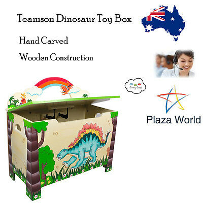Kids Toy Storage Box Teamson Dinosaur Kingdom Childrens Baby Room Hand Carved KM