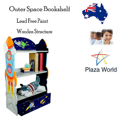 Kids Bookshelf Storage Cabinet Teamson OuterSpace Child Baby Room Hand Carved KM