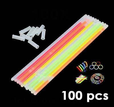 "100x 8"" Glow Stick Bracelets Necklaces Neon Colours Favors Disco+Connector UK"