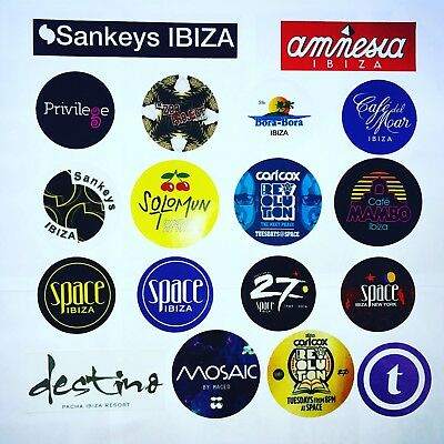 18 x Ibiza Club Stickers  - Zoo Project Privilege Bora Destino Techno Posters