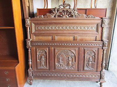 1900's Breton Quality Carved Oak Head,Foot and side rails.Double.3 carved panels