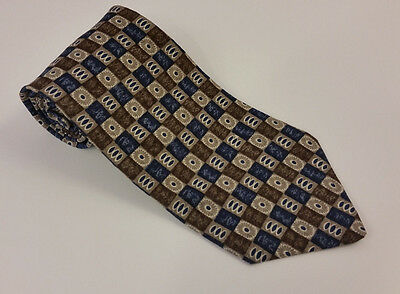 Men's Tie Vintage Guess 100% Silk Brown Blue with Geometric Pattern