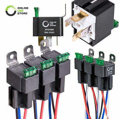 6 Pack - 12V 30A Fuse Relay Switch Harness Set SPST (4-Pin 14 AWG Hot Wires)