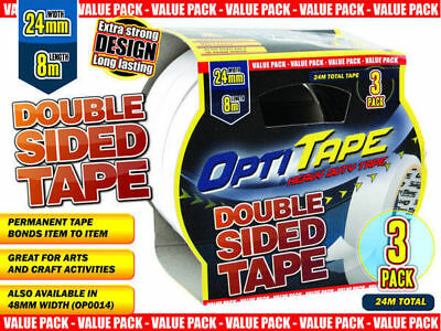 48 packs of 3 opti tape double sided 24mm x 8m craft mounting bulk wholesale lot