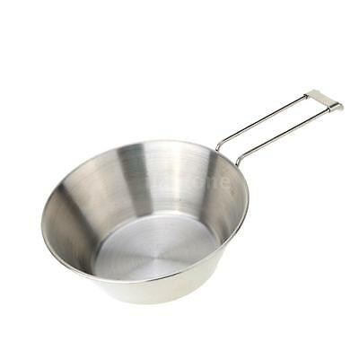 Stainless Steel Bowl & Foldable Handle Camping Tableware Portable New P4Q8
