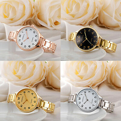 Fashion Womens Stainless Steel Watch Big Case Casual Analog Quartz Wrist Watches
