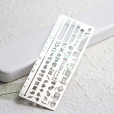 Stainless Steel Graphic Template Ruler DIY Web UI Button Drawing Planner Stencil