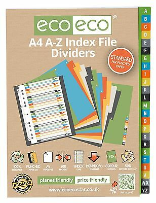 A4 A-Z ALPHABET INDEX FILE FOLDER DIVIDERS SUBJECT DIVIDERS ecoeco RECYCLED