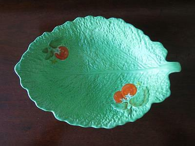 Vtg Crown Devon England Lettuce/Cabbage Leaf Tomato Bowl Green AS IS Chip