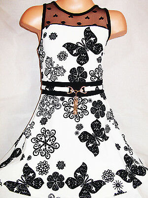 GIRLS 50s STYLE WHITE ORGANZA BLACK BUTTERFLY FLOCK PRINT FLARED PARTY SKIRT