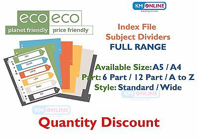 eco-eco Recycled Index File Folder Colour Plastic Dividers Organiser FULL RANGE