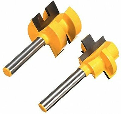 MOHOO 2Pcs Tongue and Groove Huge Crown Molding Router Bit 1/4'' Shank Wood