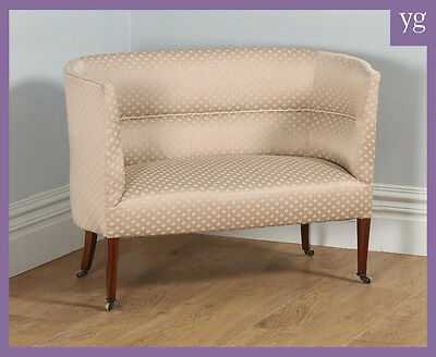 Antique English Edwardian Mahogany Tub Upholstered Salon Hall Couch Sofa Settee