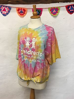 Reworked Vintage Crop Top Cropped T-Shirt Multicolour Tie-Dye (Ct36) Size 16 18