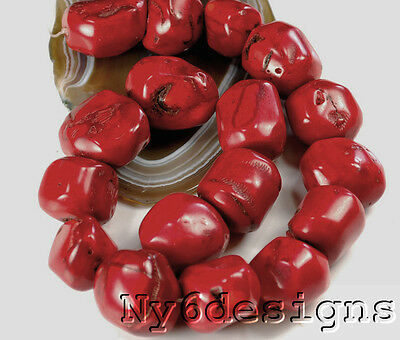 "Ny6design 18x18x15mm-28x22x20mm Red Natural Sea Coral Nugget Beads 15"" (CO185)k"