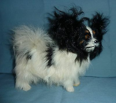 "Furry Black and White Papillon Dog Figurine size 7"" x 6"""