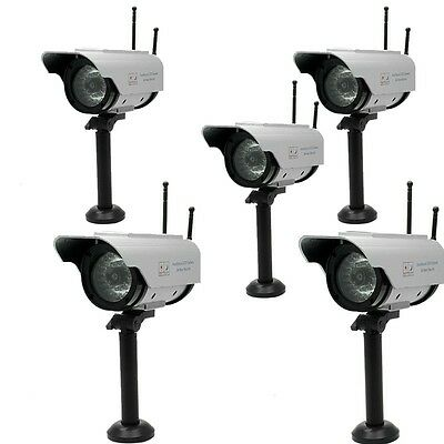 5 X Fake Dummy Solar Powered Security CCTV Camera Red Blinking LED W/ 2 Antennas