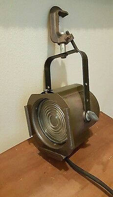 Vintage Metal Theater Studio Light Industrial steampunk movie type w/Clamp WORKS