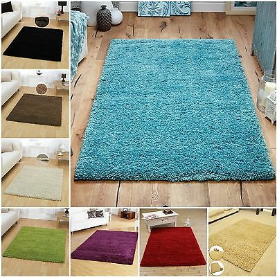 Modern Plain Soft Thick Shaggy Rug Carpet Non Shed Bedroom Floor Dining Room Mat