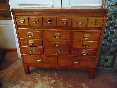Antique C.1920 Solid Oak 17 Drawer File Cabinet Office Library Bureau