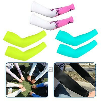 Outdoor Cycling Summer Sunscreen Cool Ice Silk Arm Cuff Sleeves UV-protection JE