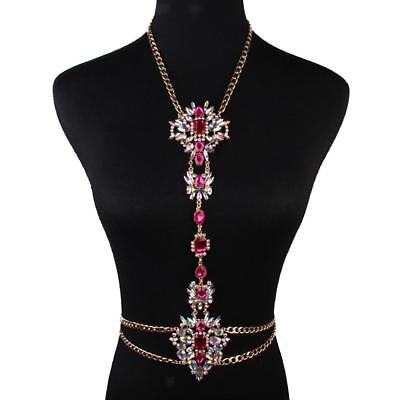 Sexy Body Chain Waist Belly Rose Flower Beach Harness Slave Jewelry Necklace