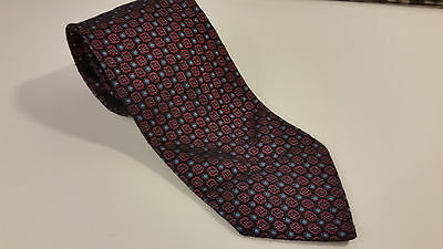 Men's Tie D'este 100% Silk Made in Italy Black with Red and Blue Geometric