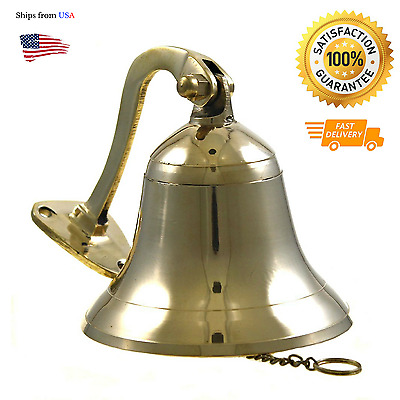 Vintage Brass Ship Bell Polished Solid Nutical Home Garden Boat Decor Marine