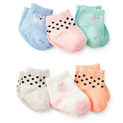 New Carter's 6 Pack Socks 12-24m NWT Mouse Owl Puppy Dog Polka Dots Girls Sock