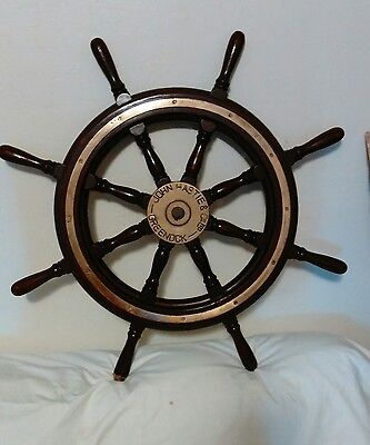 "ANTIQUE 30"" John Hastie Co GREENOCK Wood & Brass Tug Boat Ships Wheel. AUTHENTIC"