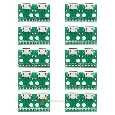 10PCS MICRO USB to DIP Adapter 5pin Female Connector B Type Pcb Converter Kit