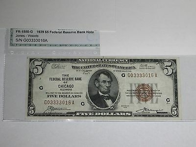 1929 $5 Federal Reserve Bank Note.  G-A block.  Chicago.