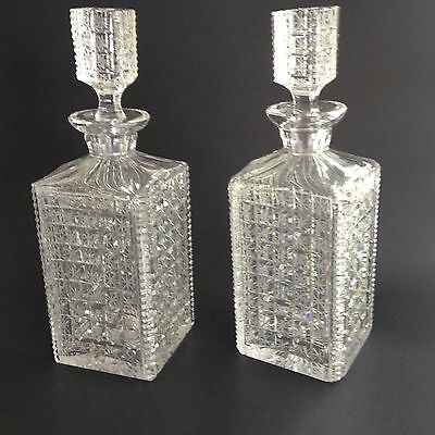 Antique Pair of cut glass decanters